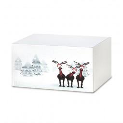 Weihnachtskartons Rentiere im Schnee 300x215x140mm, weiß B 1.3