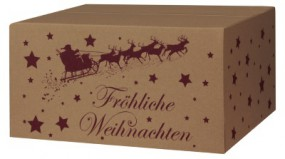 Weihnachtskartons Weihnachtsschlitten 400x300x200mm, braun B 1.2