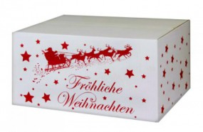 Weihnachtskartons Weihnachtsschlitten 400x300x200mm, weiß B 1.3