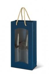 Weintragetaschen Offene Welle Farbe Blau mit transparentem Klarsichtfenster für 2 Flaschen