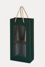 Weintragetaschen Offene Welle Farbe Grün m.Klarsichtfenster für 2 Flaschen