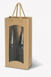 Weintragetaschen Offene Welle Farbe Natur m.Klarsichtfenster für 2 Flaschen